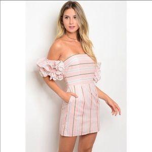 Pink Gingham Ruffle Sleeve Mini
